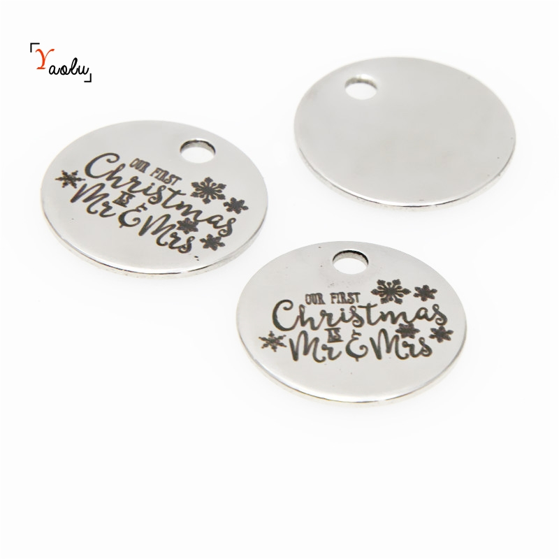 "/""Our First Christmas/"" heart shaped pendant charms 25mm Stainless steel x 5"