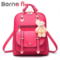 2017 new trend Leather Backpack Ms. new student fashion leisure Korean bear Backpack Bag student bag