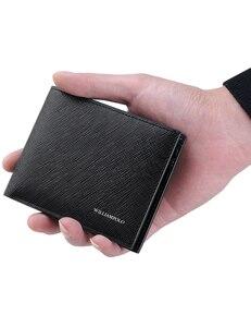 Image 2 - WilliamPOLO portefeuilles de marque de luxe pour hommes, 100% en cuir de vache court, à deux volets, Mini cuir véritable, porte cartes, fentes, petit format portable