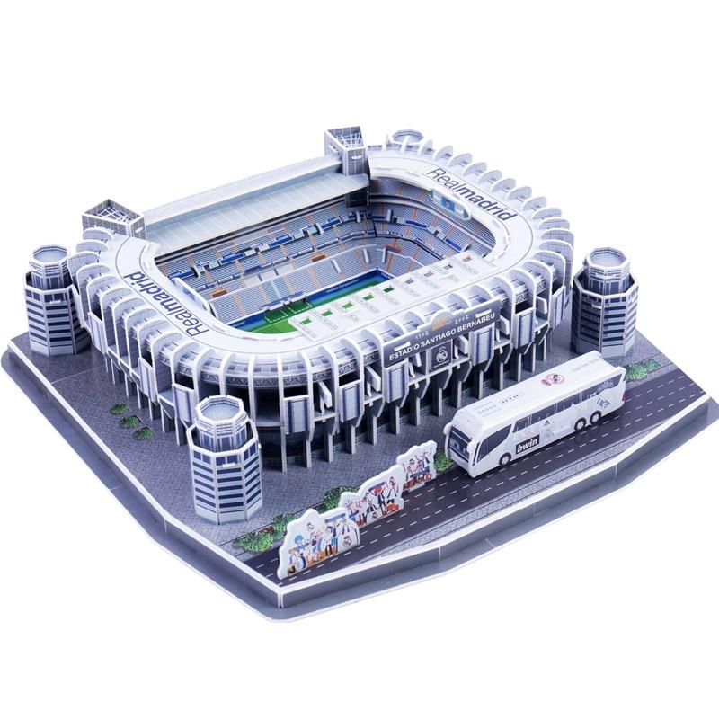 Classic Jigsaw DIY Puzzle Architecture Santiago Bernabeu Football Stadiums Club Brick Toys Scale Models Sets Building Paper
