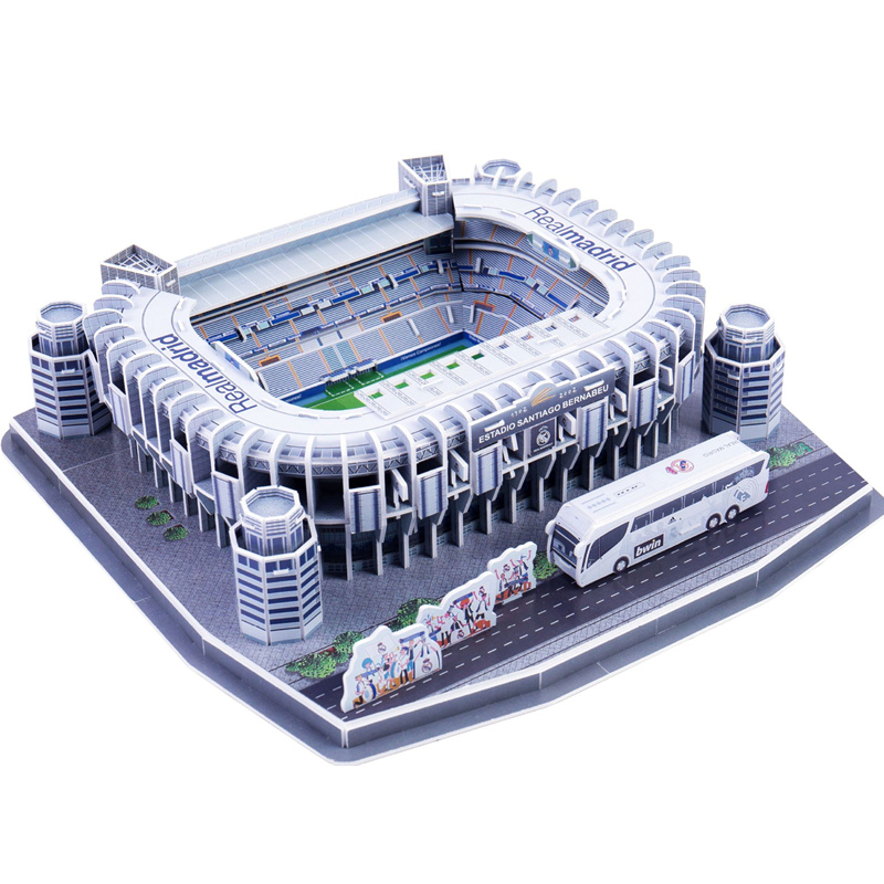 Classic Jigsaw DIY Santiago Bernabeu Puzzle Architecture Football Stadiums Club Brick Toys Scale Models Sets Building Paper