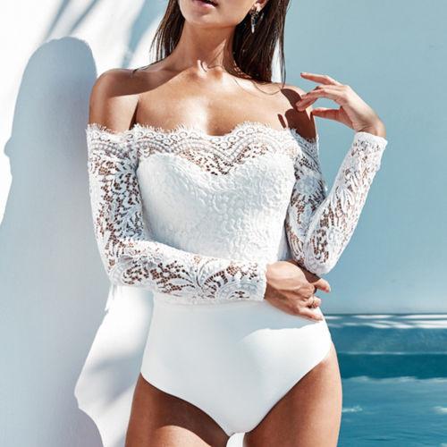 Sexy Women Off Shoulder Long Sleeve Lace Crochet Leotard Jumpsuit Bodysuit  Bodycon One-Piece Rompers 13cc78b63