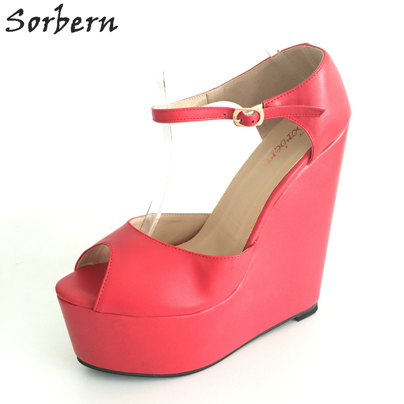 Sorbern Red Ankle Strap Peep Toe Platform Wedge High Heels Custom Colors Woman Shoes 2017 Summer Designer Heels Wedges 34-46 summer woman green high heels fashionable 16cm stiletto platform shoes sexy ankle buckles hollow out design peep toe shoes