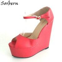 Sorbern Red Ankle Strap Peep Toe Platform Wedge High Heels Custom Colors Woman Shoes 2017 Summer