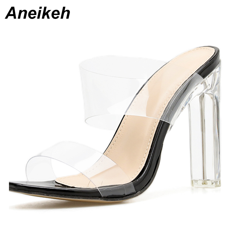Aneikeh 2019 SummerNew PVC Jelly Sandals Crystal Open Toed Sexy Thin Heels Crystal Women Transparent Heel Sandals Slippers Pumps