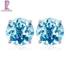 Lohaspie Stone Jewelry Solid 14K white Gold 4mm/5mm/6mm Natural Swiss Blue Topaz Stud Earrings For Women's Fine Fashion Jewelry