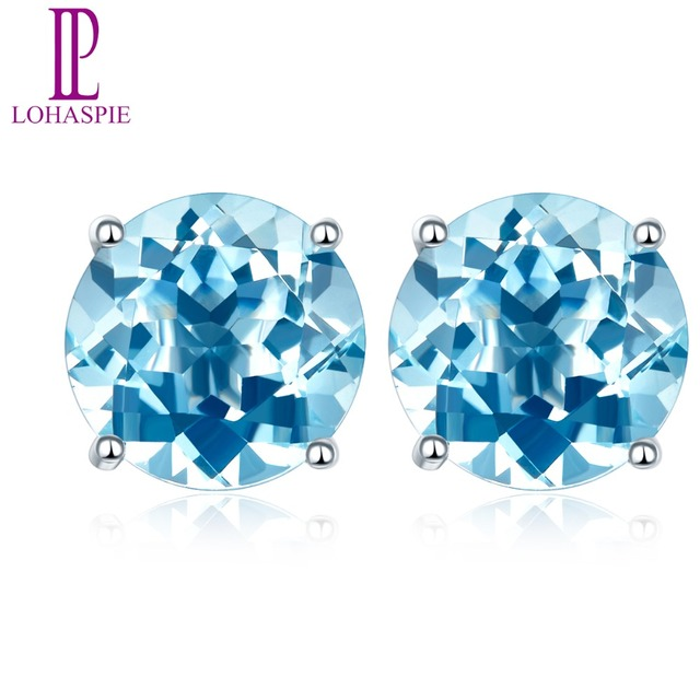 Lohaspie Stone Jewelry Solid 14K white Gold 4mm/5mm/6mm Natural Swiss Blue Topaz Stud Earrings For Women's Fine Fashion Jewelry