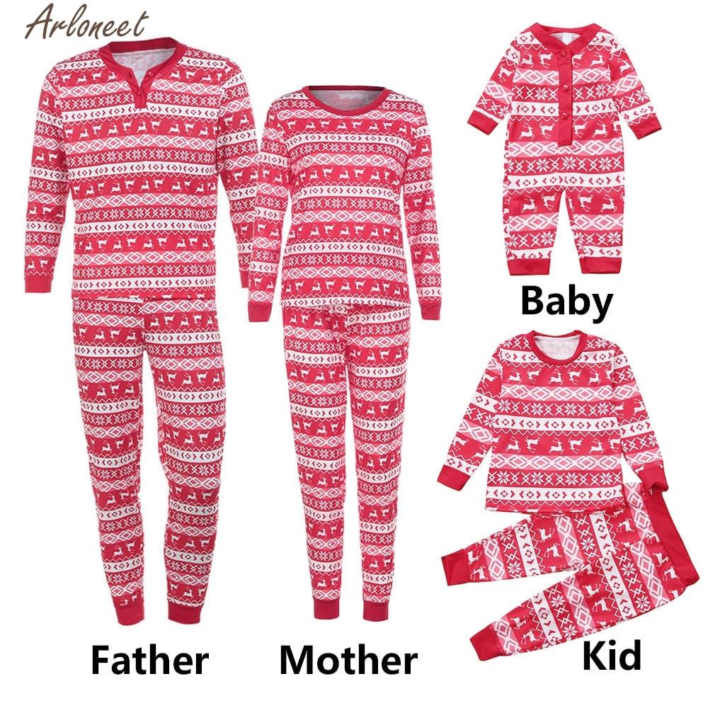ARLONEET Women Man Kids Deer T shirt Tops Blouse Pants Pajamas Christmas Set Family Clothes P30 Dec14