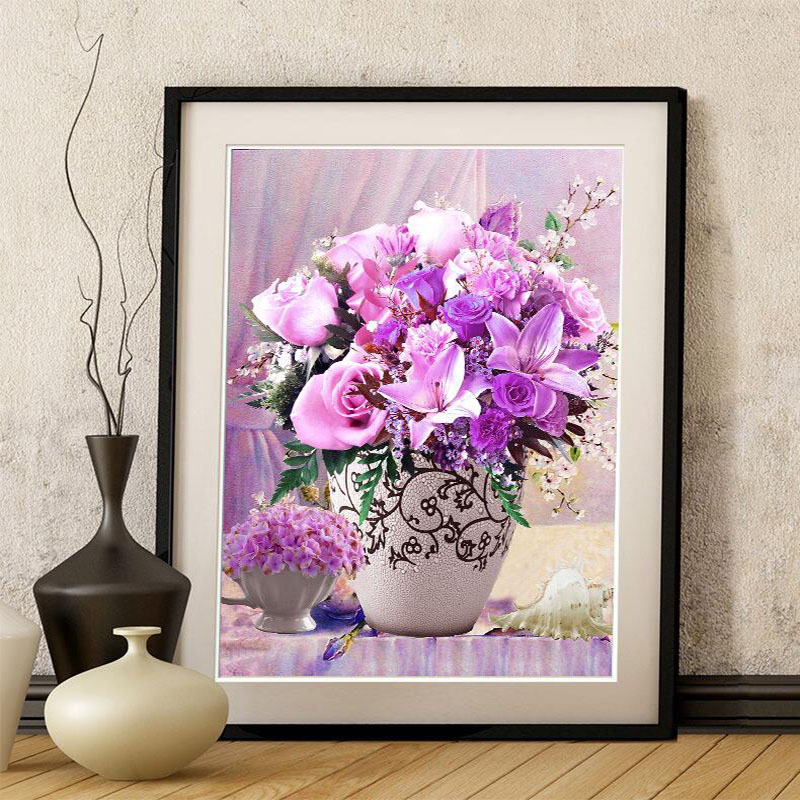 Needlework,DIY DMC Cross Stitch, Sets For Embroidery Kit 9ct/11ct Printed Cotton Thread Flower Painting Home Cross-stitch Vase27