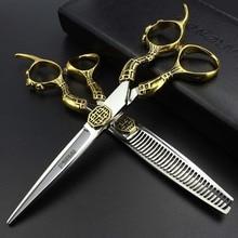 Professional hair scissors barber shop scissors Japan 440c professional hairdressing scissors 6 inch salon scissors styling tool