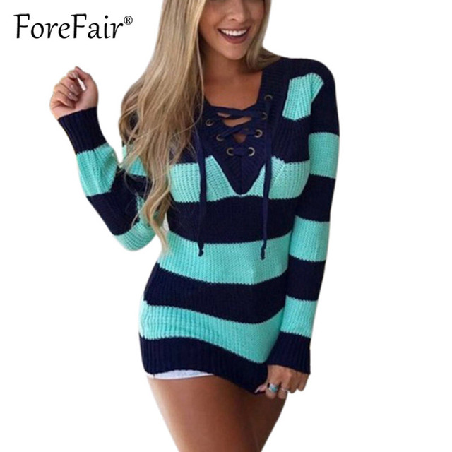 4f2aec26bb8 Forefair Rainbow Striped Sweater Pullovers Women Winter 2018 Jumper Knitted  Clothing Fashion Long Sleeve V Neck Lace-up Sweater