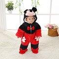 Bonito do Inverno do Outono do Algodão Poliéster Romper Do Bebê Manga Comprida Macacão Com Capuz Macacão Infantil Mickey Em Forma de Uma Peça para Toodler