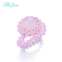 l&zuan Pink Rose Quartz womens rings Classic 100% made by hand Round Natural Powder fine jewelry Party