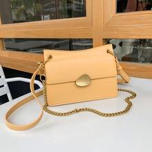 2019 New Fashion High Quality Leather Womens Designer Handbag Lock Chain Shoulder Messenger Bag Elegant Female Flap Square