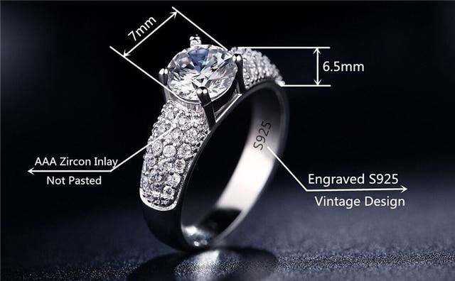 H:HYDE Silver Color Rings For Women Wedding Jewelry Bijoux zirconia vintage Accessories Engagement Bague Bijouterie