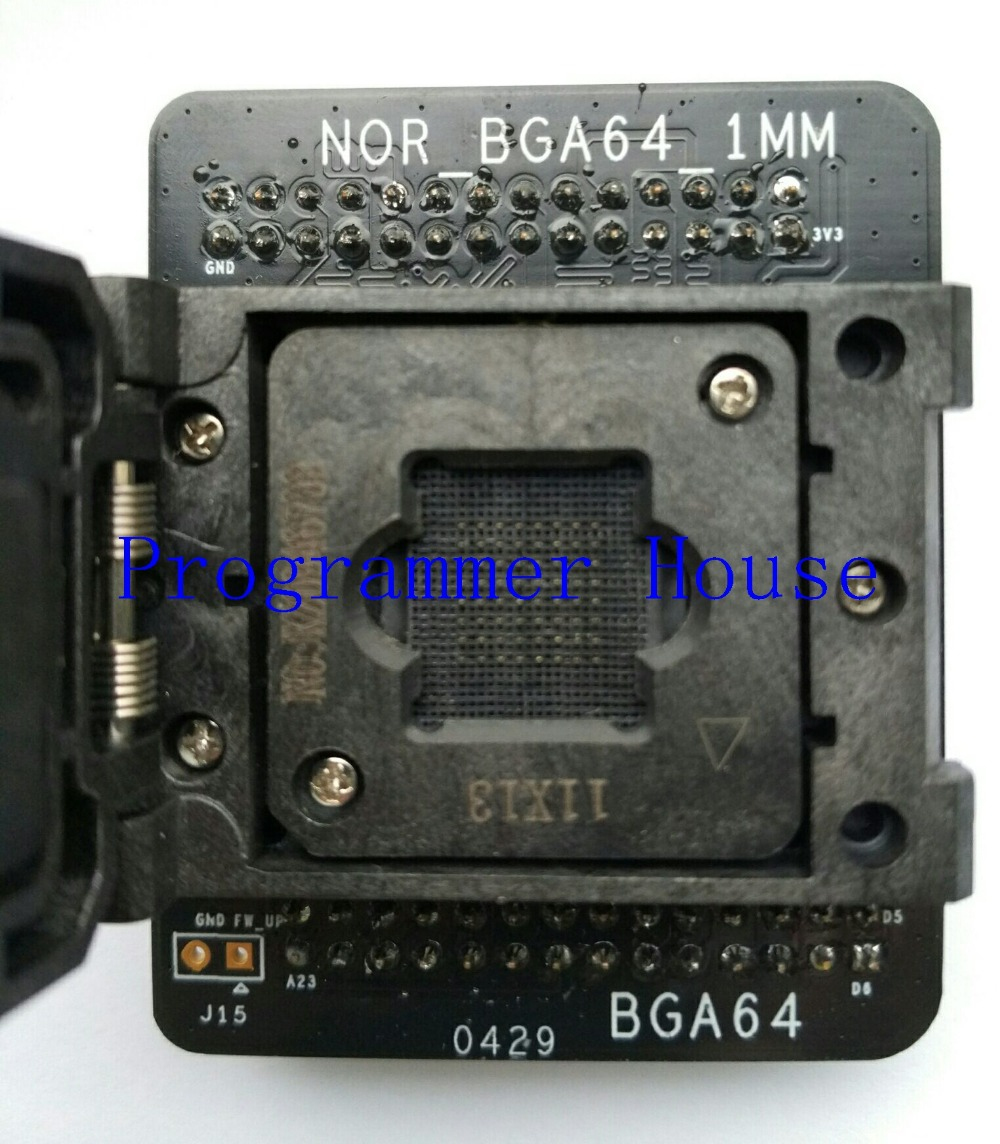 Free shipping 100% original nor BGA64 adapter for nor nand proman tl86_plus proman SOCKET 1.0mm ADAPTER 11*13mm new arrival proman programmer nand flash chip for nand nor tsop48 tsop56 bga63 bga64 bga107 bga130 program with related adapters