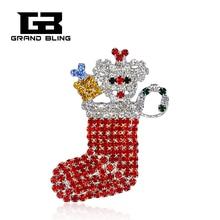 Chritmas Theme Rhinestone Brooch Christmas Stocking Pins Hand-made Jewelry&Gift cute rhinestone christmas hat cat christmas stocking brooch