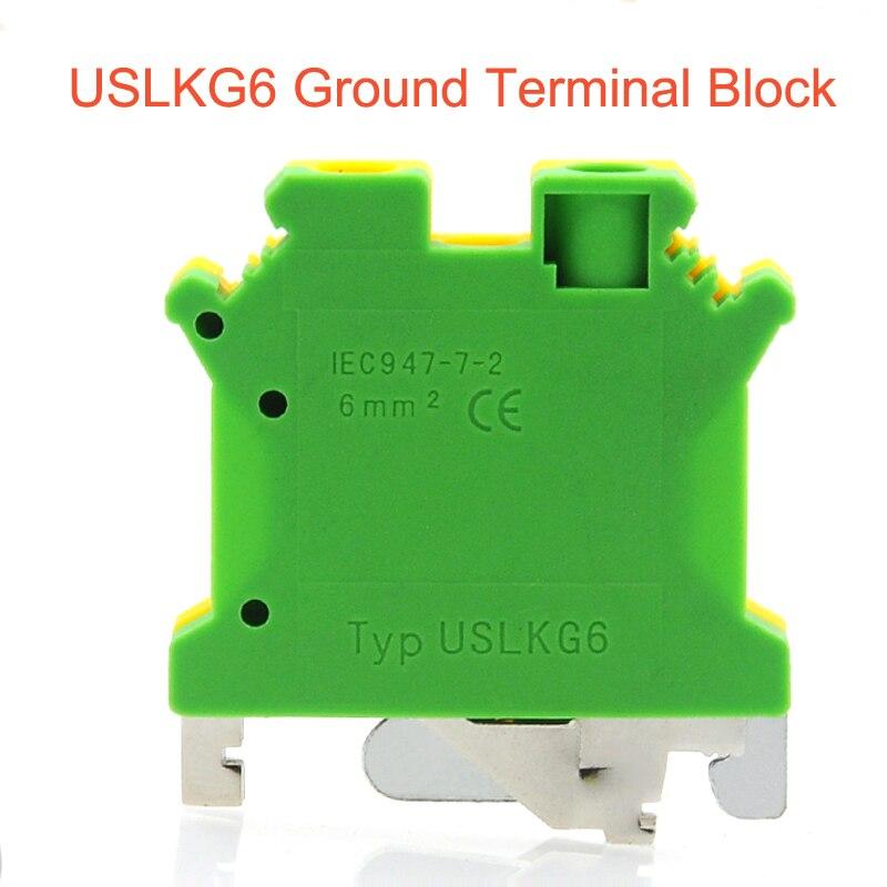 5/10/50pcs USLKG6 Ground Terminal blocks DIN Rail Screw Terminal Blocks UK-6N yellow green Earthing morsettiera connector 6mm2 5/10/50pcs USLKG6 Ground Terminal blocks DIN Rail Screw Terminal Blocks UK-6N yellow green Earthing morsettiera connector 6mm2