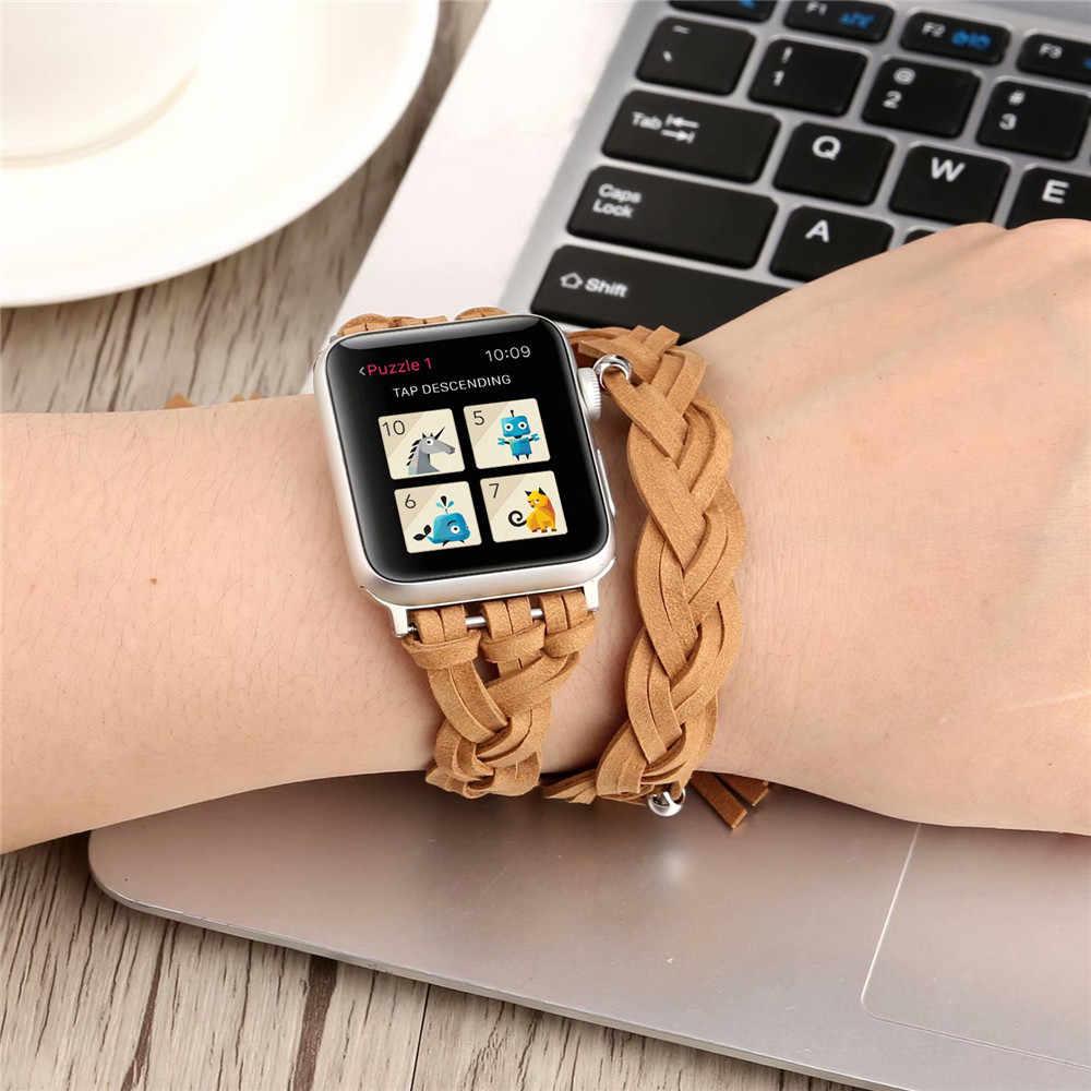 Pulseira de couro artesanal retro para apple watch band 38mm 42mm 40mm 44mm feminino encantador duplo círculo pulso bandfor iwatch 5 4 3 2