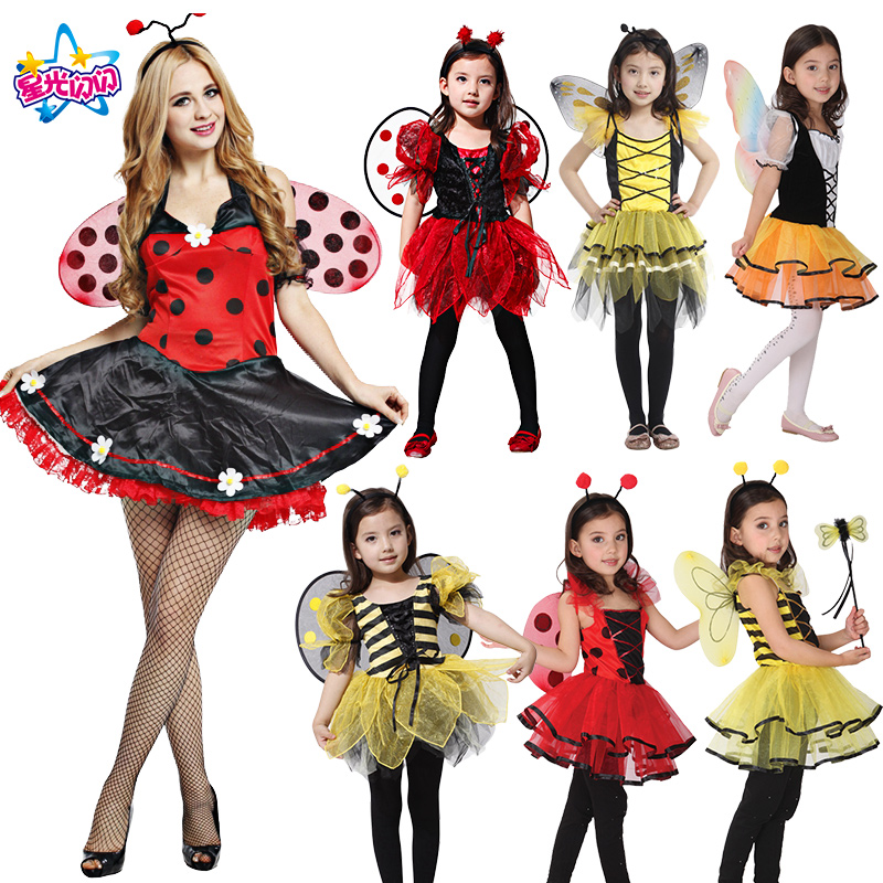 Free shipping Women Kids Cute lady bug fairy for kids girls dresses Fancy Masquerade Party Dragonfly Dance