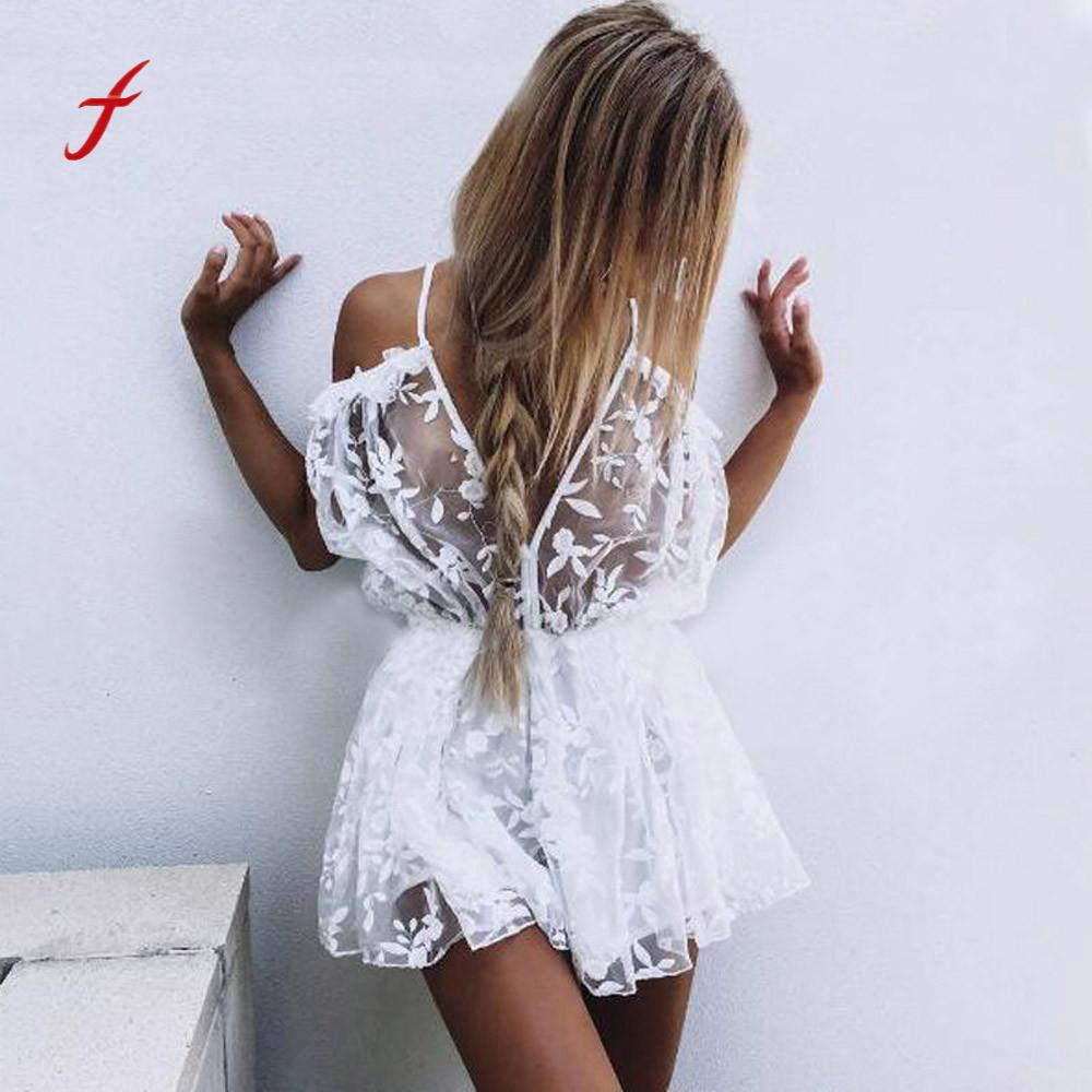 97149dad651 Feitong Womens See Through Lace Playsuit Ladies Plunge Holiday Short  Jumpsuit
