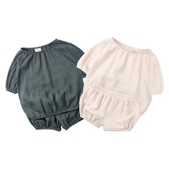 Baby Girls Clothing Sets Summer Infant Newborn Girls Clothes Cotton Solid Top+Pants 2PCS Boys Kids Outfits Set Pajamas M523 1