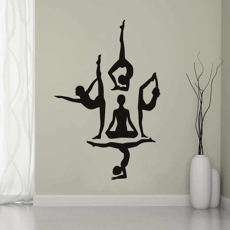 Yoga wall decals dance training school use wall stickers letter quotes self adhesive wallpaper for yoga