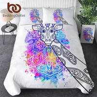 BeddingOutlet Giraffe Bedding Set Watercolor Art Duvet Cover Animal Bed Set Rainbow Colorful Bedclothes Floral Parure De Lit