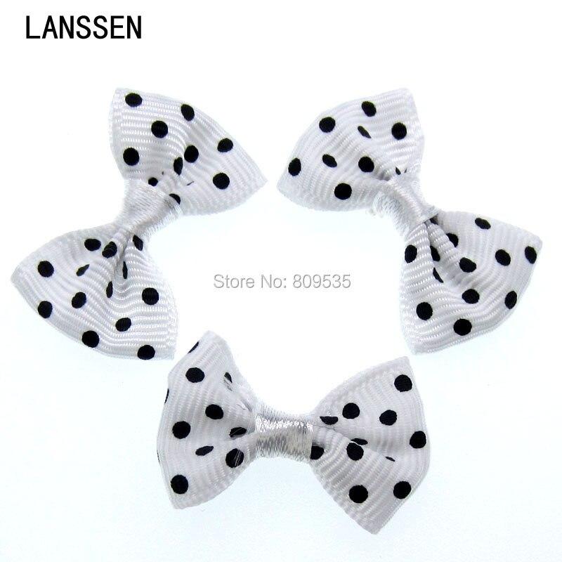 50pcs White Handmade Dot Grosgrain Ribbon Dot Bowknot For Applique