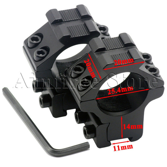 "Tactical 2pcs 25.4mm 1"" Inch Rifle Scope Mount Rings Fits 11mm Dovetail Rail with Picatinny 20mm Top Weaver Rails"