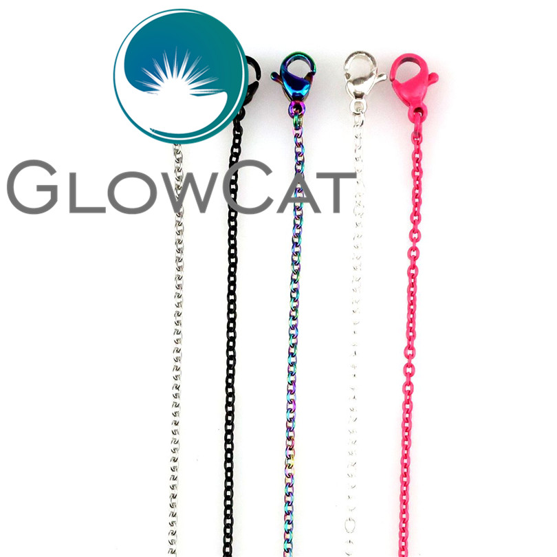 5pcs Multi-color Stainless Steel Chains Necklace Silver Black Pink Rainbow Color 18 Link Chain Jewelry Making