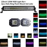 Honzdda 22 120w led offroad light bar 12V with RGB Halo Ring Led Warning Light Bar with 2pcs Flush Mount Spot Led work light