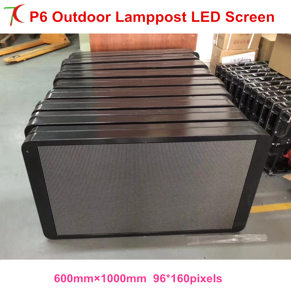 Customizable P6 Outdoor 3G/4G/ Wifi/usb/rj45 Funcationwaterproof Lamppost Led Screen For Advertisement Display