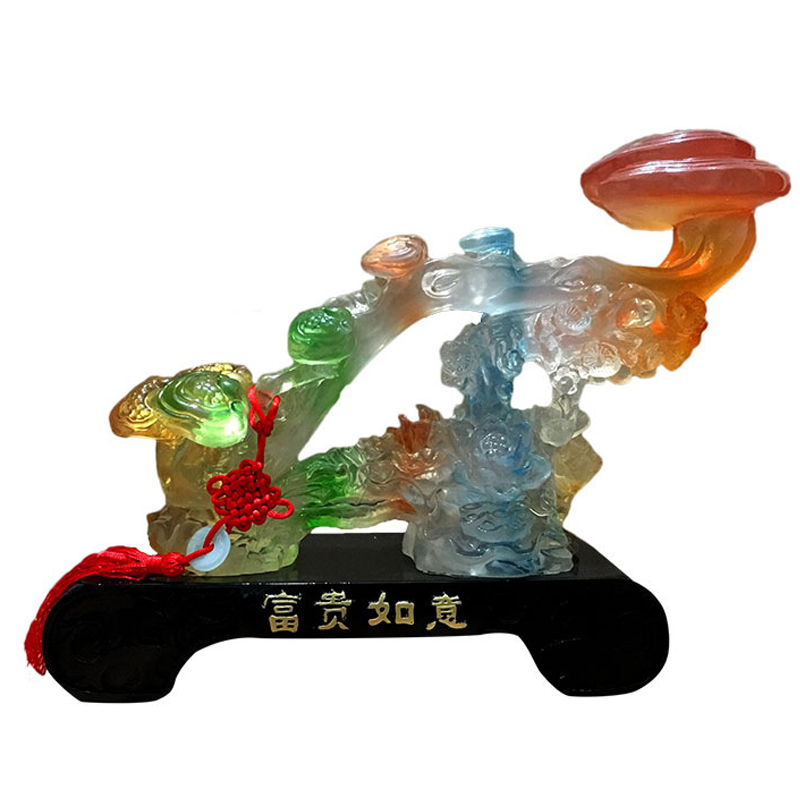 Household Glass Jade Ruyi Decoration Ornaments Chinese Art and Crafts Creative Office Resin Crafts High end Lucky Opening Gifts