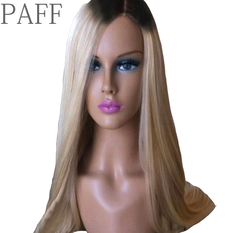 PAFF Ombre Glueless Lace Front Human Hair Wig Straight 1B 613 Color Brazilian Remy Hair Wig For Black Women With Baby Hair