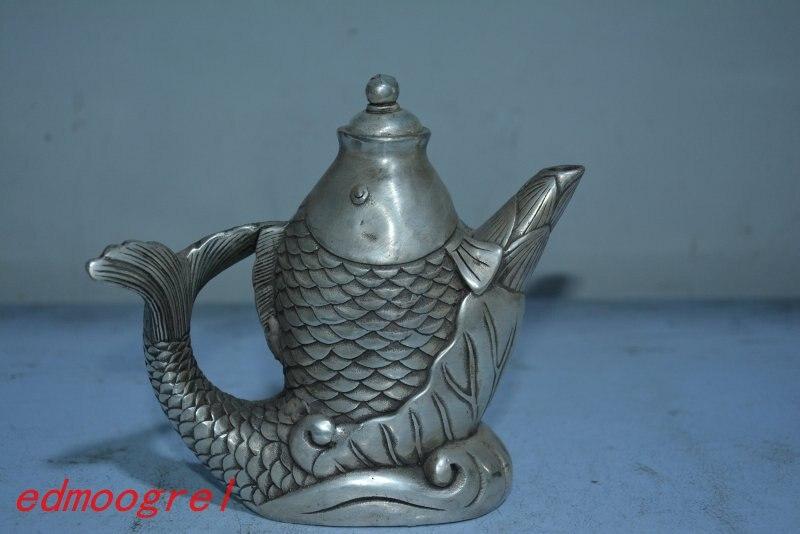 Ancienne théière chinoise en argent tibétain, artisanat sculpté à la main, ornements de mauvais augure, collection & parure, livraison gratuite