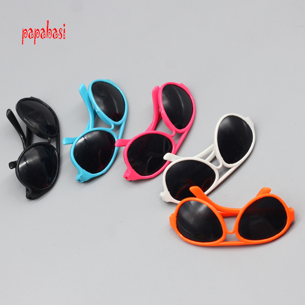 1pcs new plastic sunglasses for BJD blyth dolls as for 18inch American girl dolls Accessories mini glasses toy new style doll accessories round shaped glasses sunglasses suitable for 1 3 bjd dolls mini doll glasses for dolls good quality
