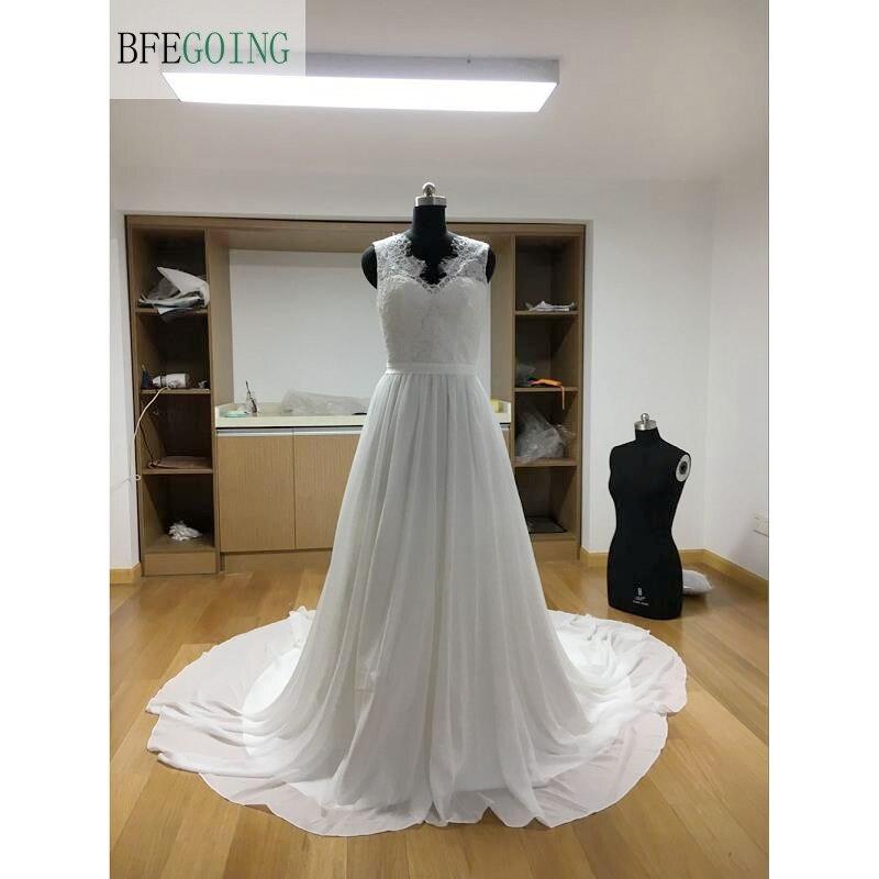 White Chiffon Lace V Neck Sleeveless Floor Length A line Wedding dresses Chapel Train Custom made