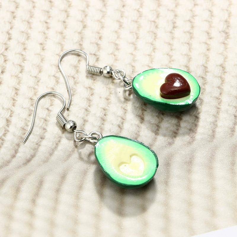 MJARTORIA Cartoon Avocado Fruit Piercing Pendant Earring Green Cute Drop Earring For Women Girl Statement Jewelry