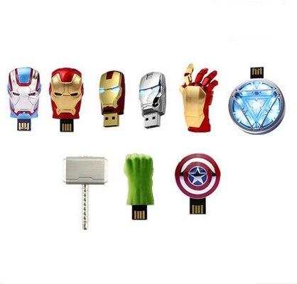 Avengers 11 Styles Captain America Iron Man Hulk Thor Creativo Usb Flash Drive 1TB 2TB Pendrive 64GB 128GB 512GB Pen Drive Stick