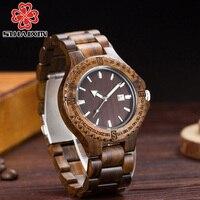 SIHAIXIN Newest Design Vintage Wooden Bangle Wrist Watches Men Sandalwood Strap Quartz Movement Date Male Luxury