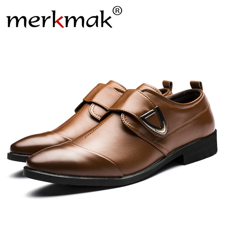 Merkmak Big Size 38-48 Oxfords Leather Men Shoes Fashion Casual Pointed Top Formal Business Male Wedding Dress Drop Shipping