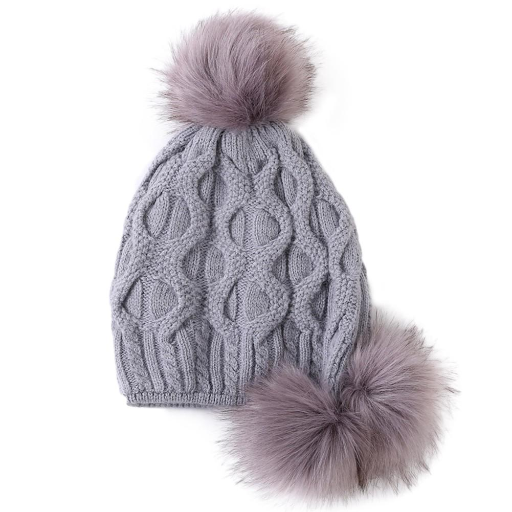 MISSKY Women Knitted Cap Warm Solid Color Woolen Hat with Plush Fuzzy Balls for Autumn Winter