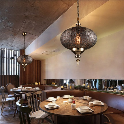 Loft Style creux fer Droplight industriel Vintage pendentif LED luminaires salle à manger suspension lampe décor intérieur éclairage - 4