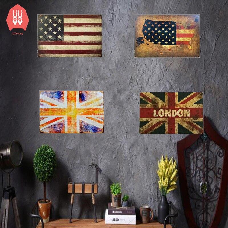 Home Decor Nation: Home Decor USA England National Flag Vintage Metal Tin