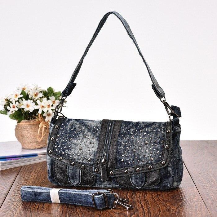 ФОТО KISS KAREN Rivets Design Casual Fashion Denim Bag Women's Shoulder Bags Ladies Jeans Flap Womens Crossbody Bags Cowbody Lady Bag