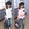 Девушки бейсбол джерси куртки дети пальто и куртки для детей верхняя одежда кардиган девочек 4 ~ 15 лет