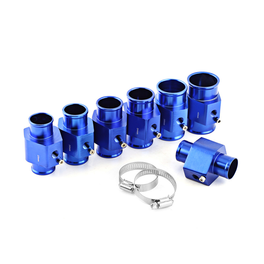 Blue Auto Car Water Temperature Sensor Adapter Water Temp Joint Pipe Guage Meter Aluminium with Clamps 26/28/30/32/34/38/40mm