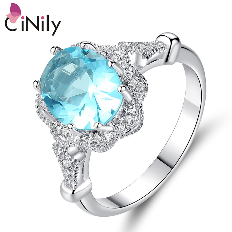 Cinily Jewelry Stone Ring-Size Wedding-Engagement Silver-Plated Blue Fashion Women Zirconia