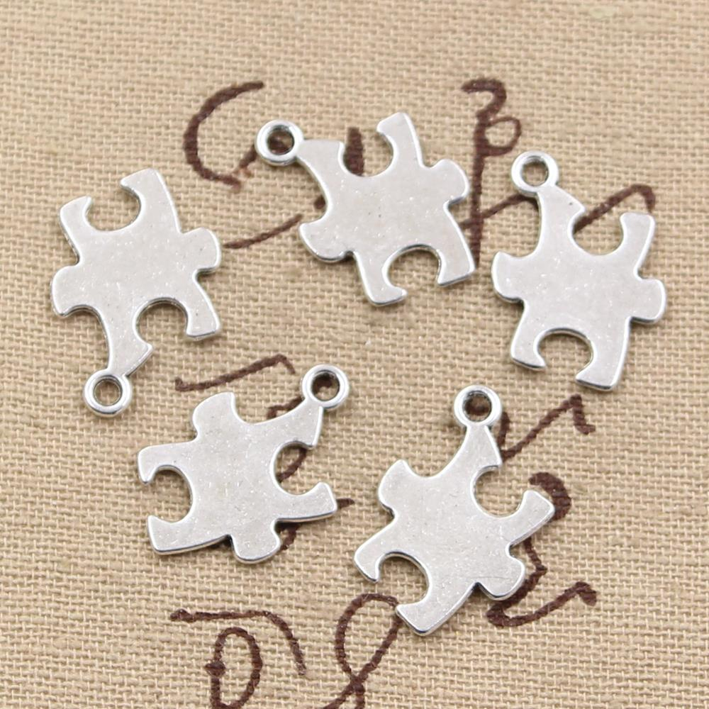 30pcs Charms Jigsaw Puzzle Autism Awareness 20x14mm Antique Bronze Silver Color Pendants Making DIY Handmade Tibetan Jewelry(China)